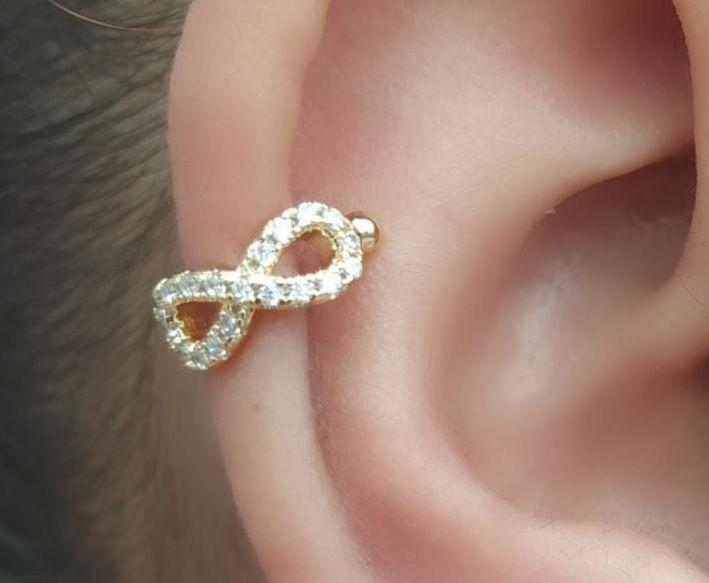 Piercing Fake Infinito Cartilagem Zirconia Banhado Ouro Unid