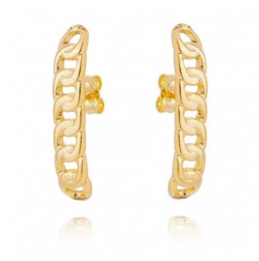 Brinco Ear Hook Corrente Feminino Moderno Folheado a Ouro