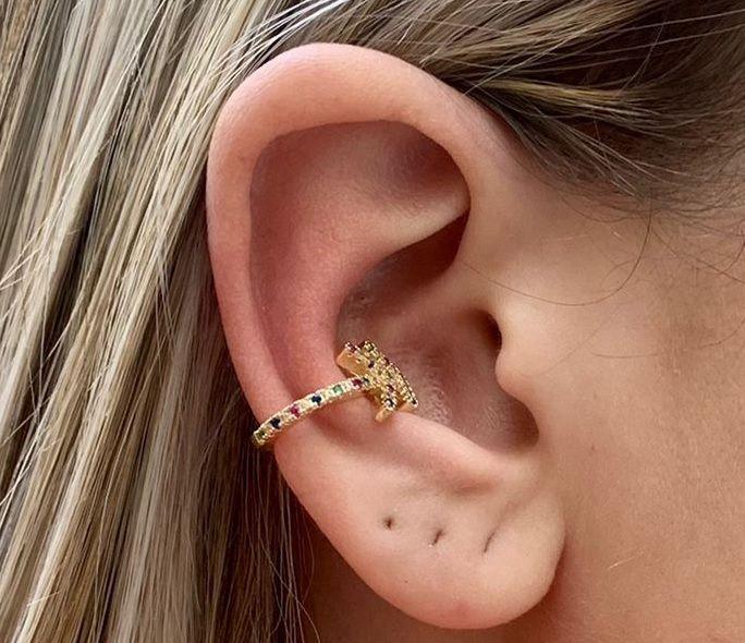 Piercing Fake Cartilagem Zirconia Colorida Banhado Ouro Unid