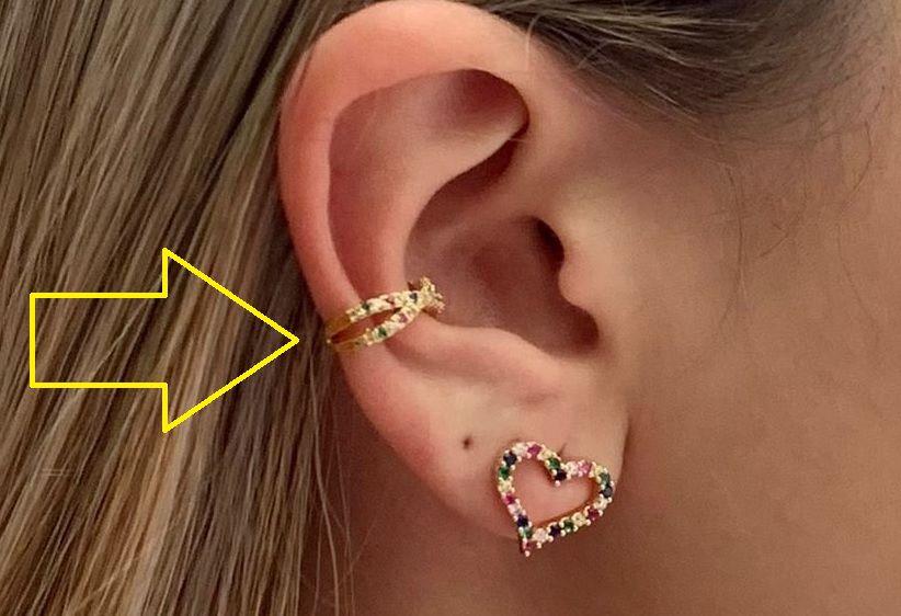 Piercing Fake Cartilagem Zirconia Color X Banhado Ouro Unid