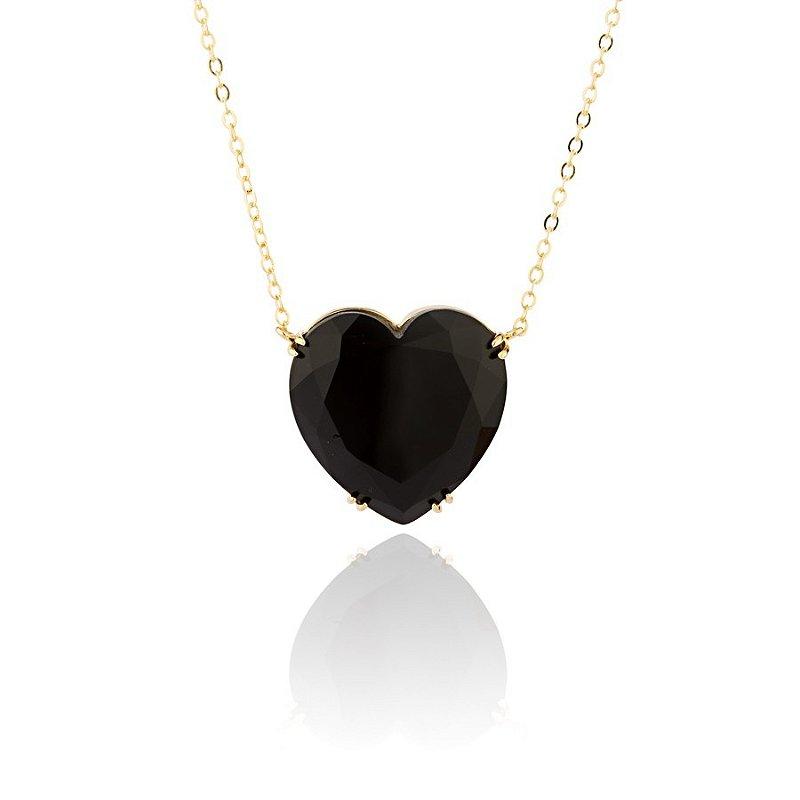 Colar Semijoia Com Pingente De Coração Em Pedra Cristal,  Banhado Em Ouro 18k