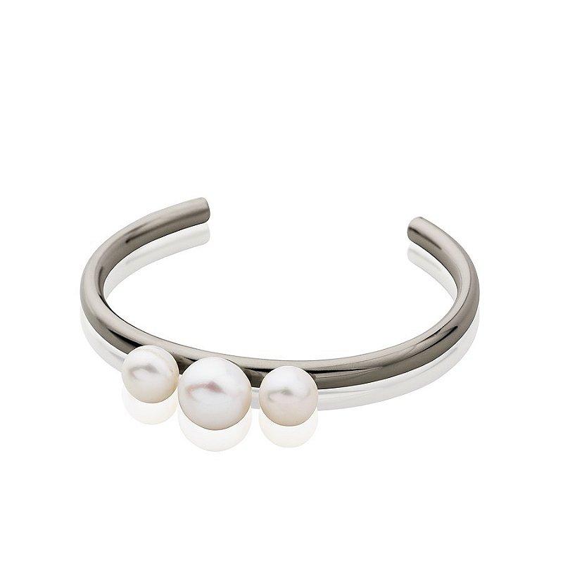 Bracelete semi joia com pérolas, banhado em ródio negro