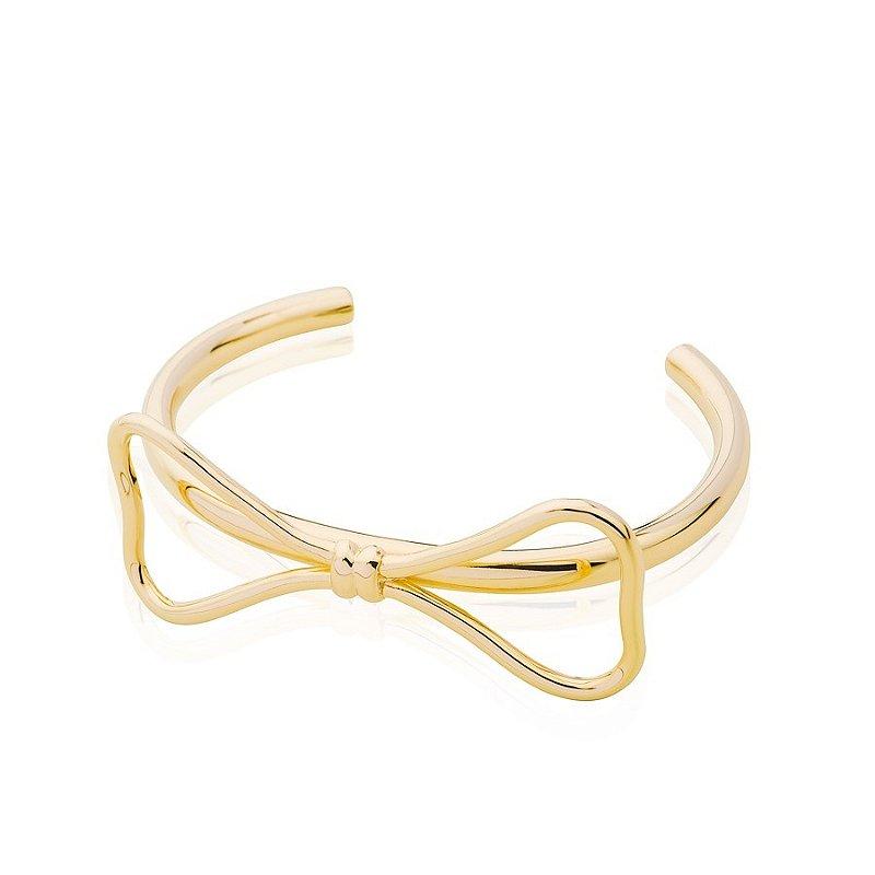 Bracelete Feminino Com Laço Dourado Banhado A Ouro