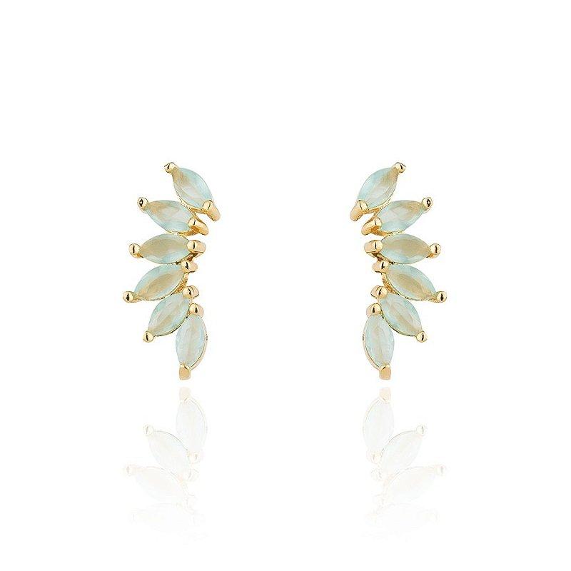 Brinco Semijoia Ear Cuff Cravejado Com Navetes De Cristal E Banhado Em Ouro 18k