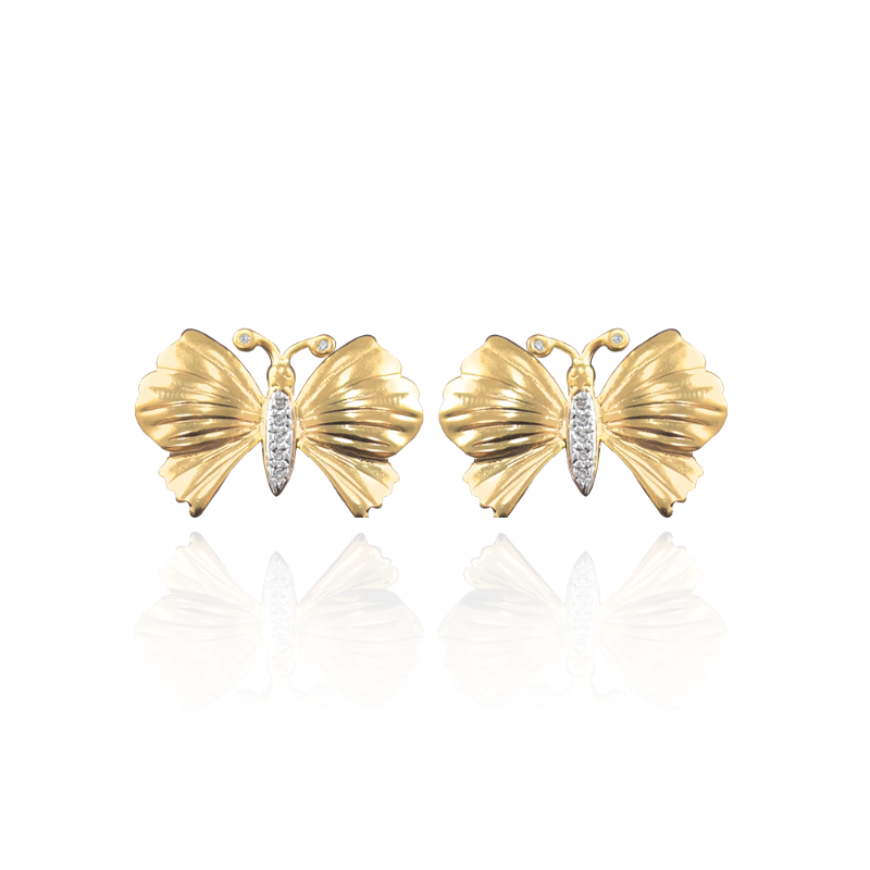 Brinco De Borboleta Cravejado Com Zirconias Brancas Rodinadas E Banhado Em Ouro 18k