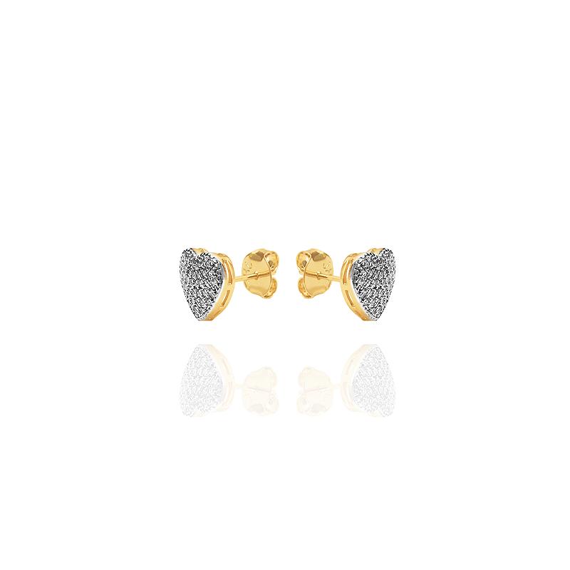 Brinco Semijoia Em Forma De Coração Cravejado Com Zirconias, Banhado Em Ouro 18k