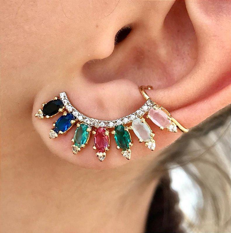 Brinco ear cuff semi joia cravejado com pedras cristal e zirconias banhado em ouro 18K