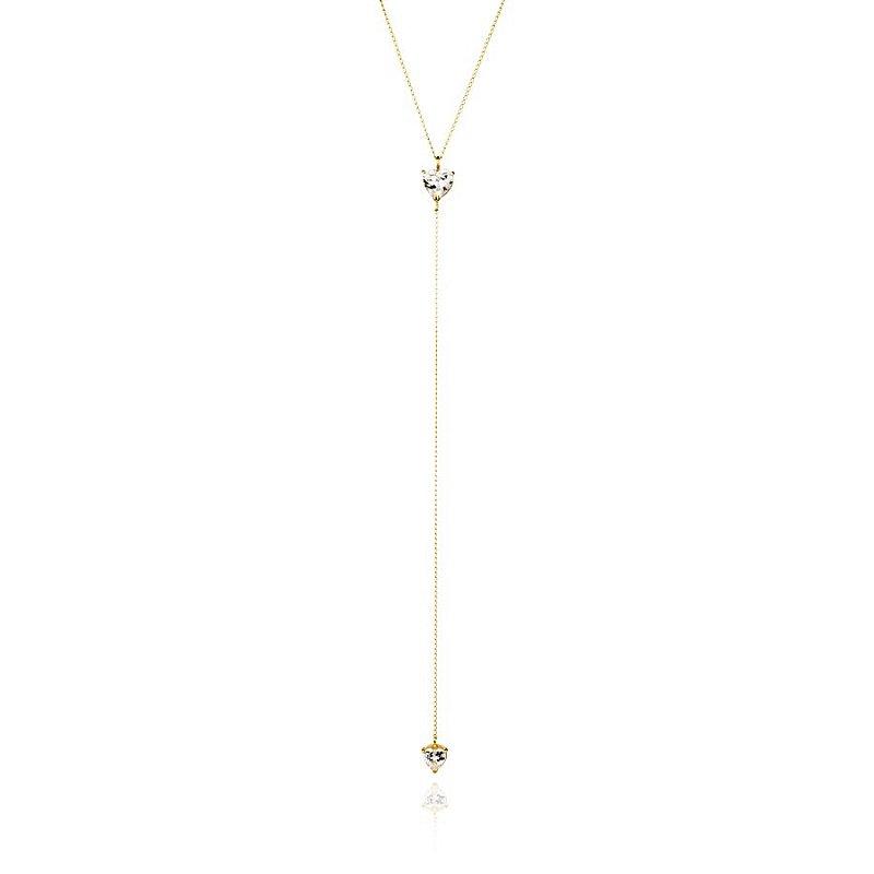 Colar Gravata Semijoia Com Corações De Zircônias, Banhado Em Ouro 18k