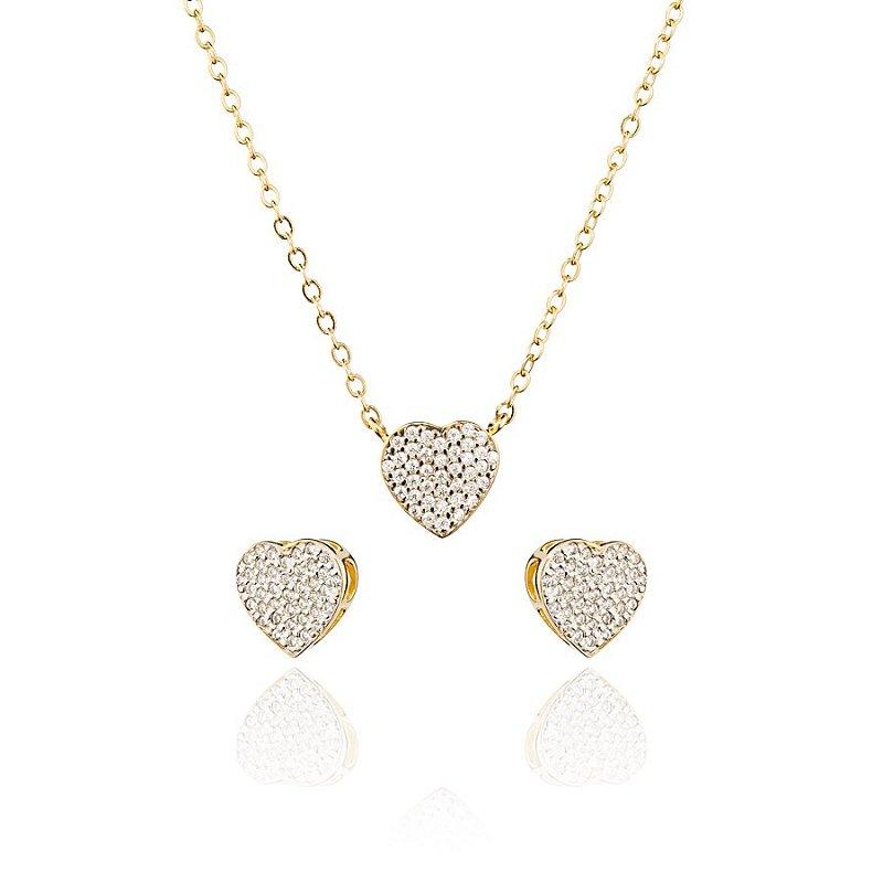 Conjunto Colar E Brinco Em Forma De Coração Cravejados Com Zirconias Brancas Banhado Em Ouro 18k