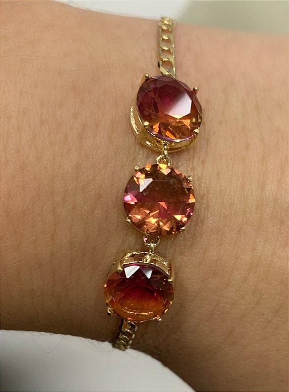 Pulseira Com Pedras Redondas Banhada Em Ouro 18k