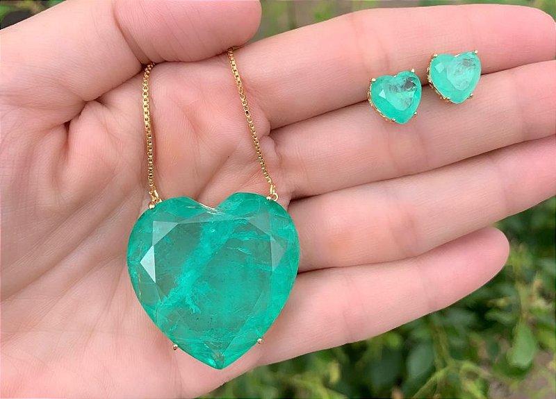 Colar Brinco Coração Pedra Verde Especial Maxi Grande Dourado