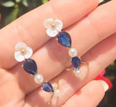Brinco Ear Cuff Pedra Azul Safira e Madre Perola Banho Ouro