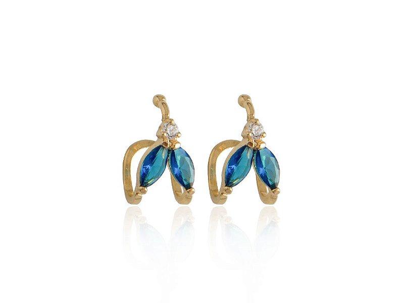 Brinco Piercing Fake Orelha Azul Safira Folheado Ouro