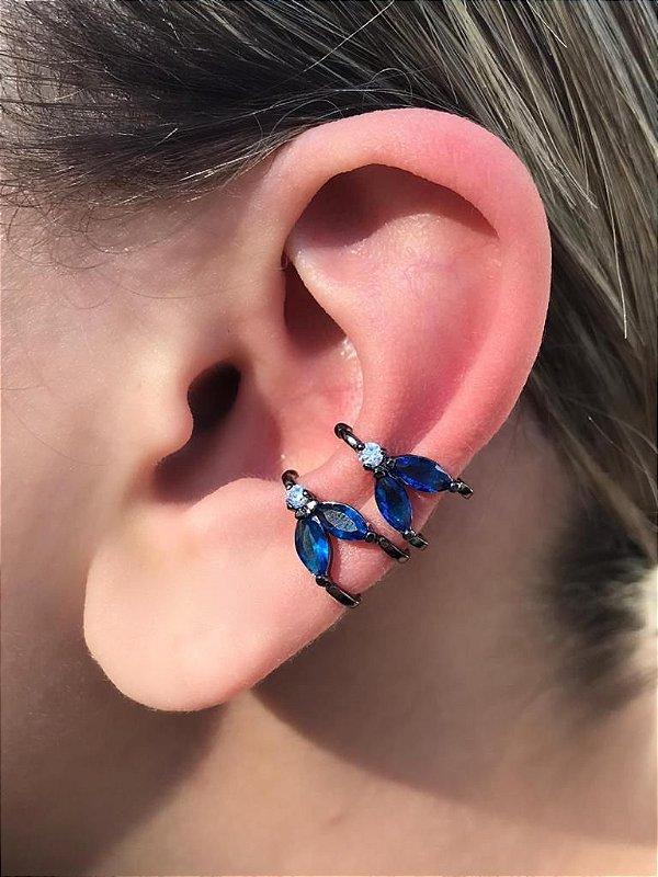 Brinco Piercing Fake Orelha Azul Safira Folheado Ródio Negro