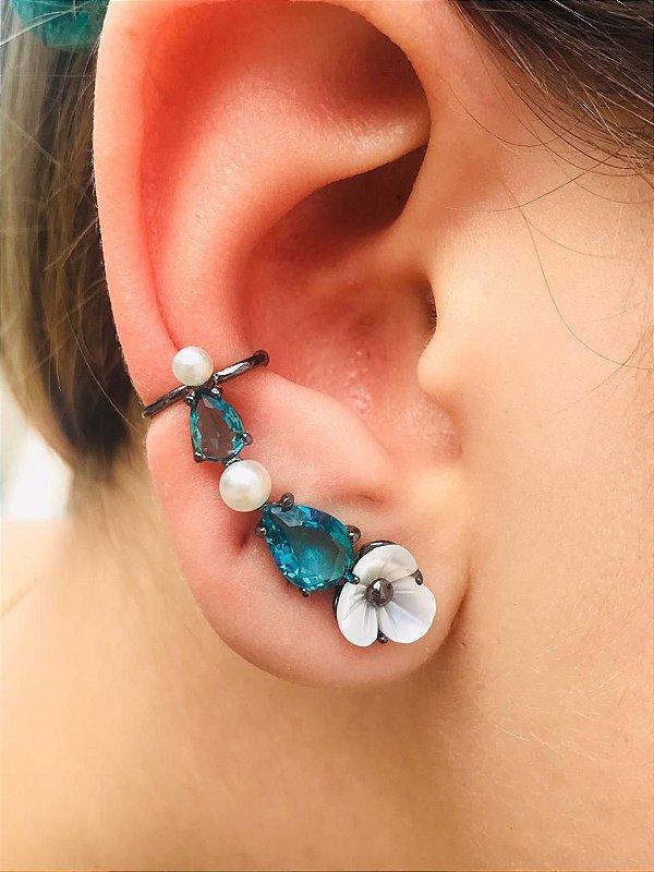 Brinco Ear Cuff Pedra Turmalina e Madre Perola Ródio Negro