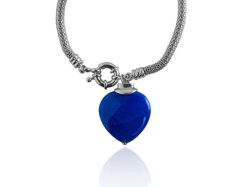 Pulseira Grossa Coração Pedra Azul Banhada Ródio Branco