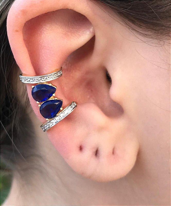 Brinco Piercing Fake Orelha Azul Safira Folheado Ouro Par
