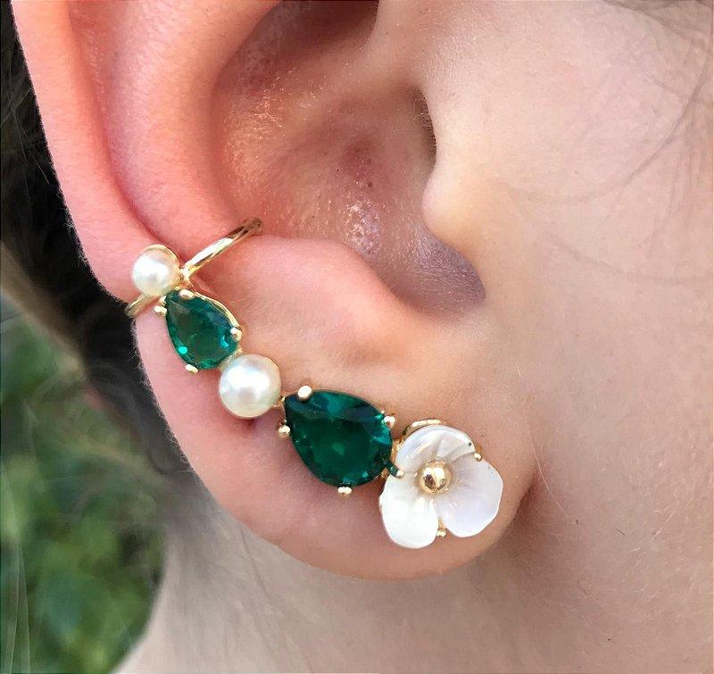 Brinco Ear Cuff Verde Esmeralda Madre Perola Banho Ouro