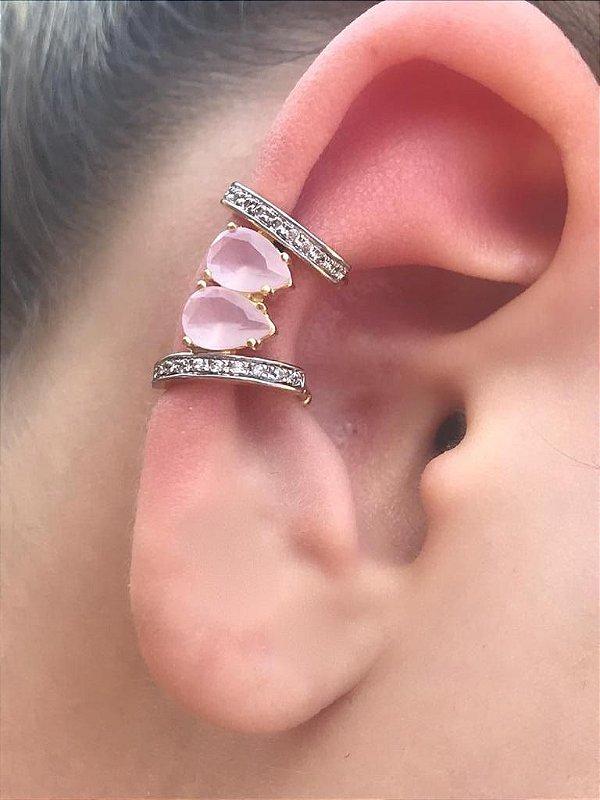 Brinco Piercing Fake Orelha Rosa Cravejado Folheado Ouro