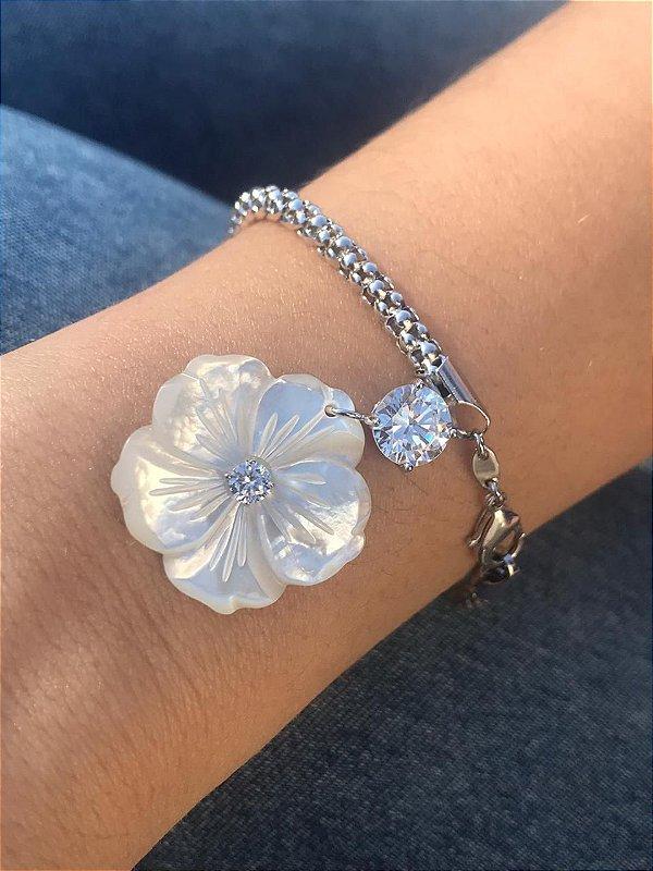 Pulseira Pingente Flor de Madre Zirconia Banho Ródio Branco