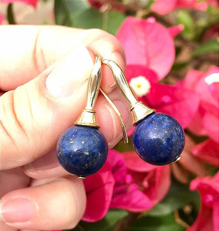 Brinco Gancho Azul Lapis Lazuli De Gancho Banhado A Ouro