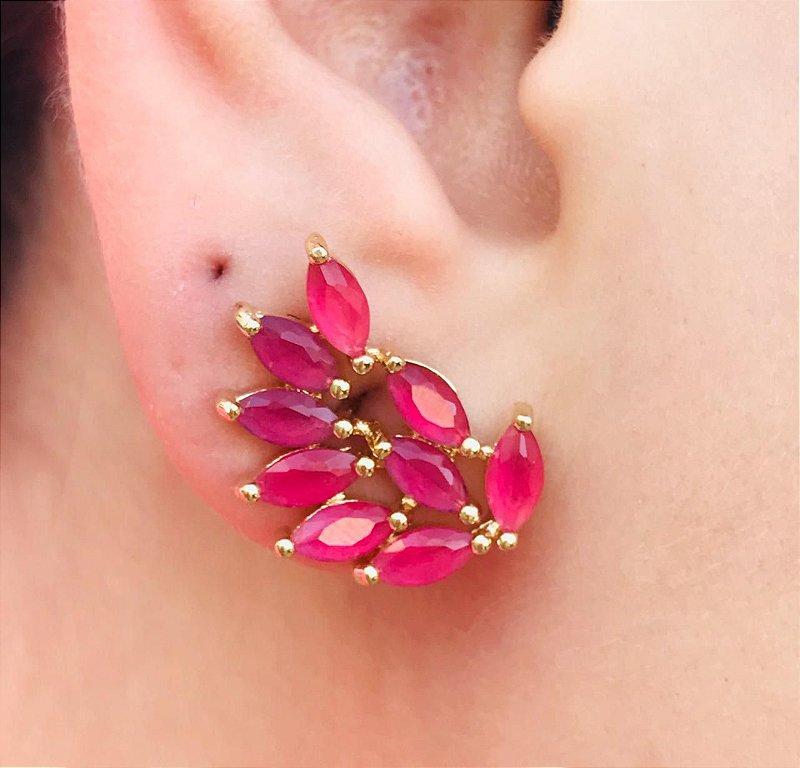 Brinco Navetes Delicado Semijoia Cristal Pink Banhado a Ouro