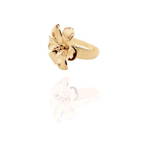 Anel de Flor Grande Dourado Folheado a Ouro 18K