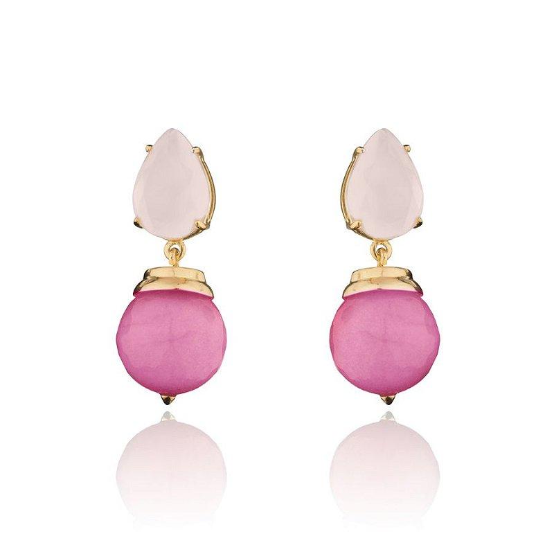 Brinco Pedra Gota Rosa Mais Bola Pink Banhado a Ouro