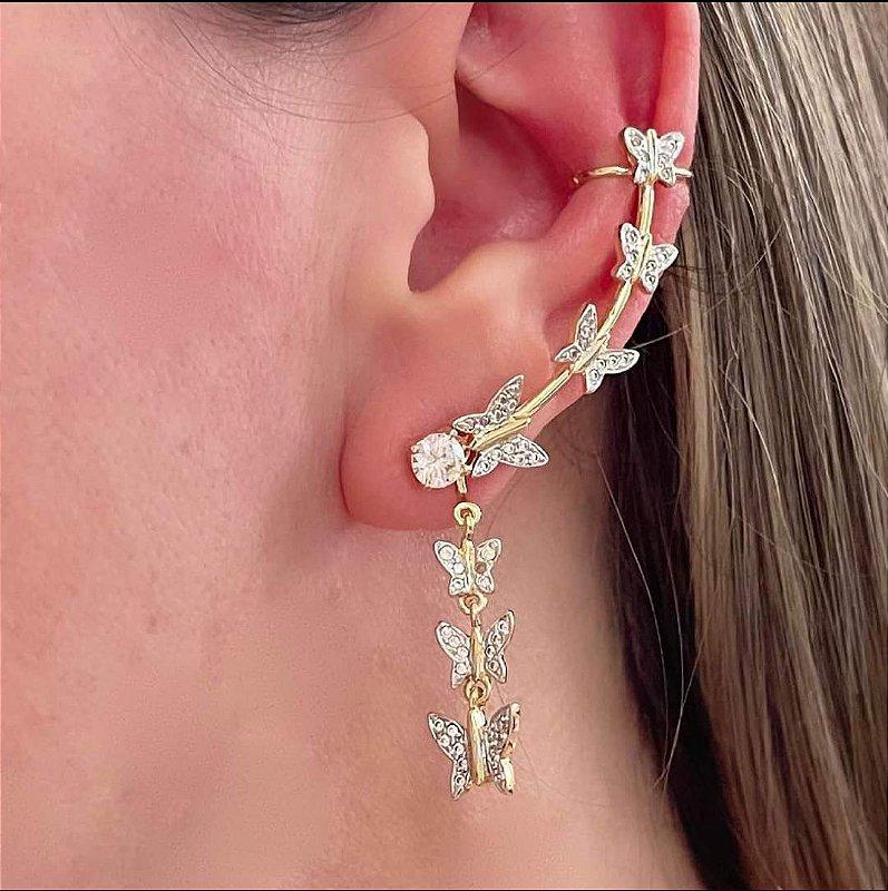 Ear Cuff Brinco Borboletas Micro Zirconias Folheado Em Ouro