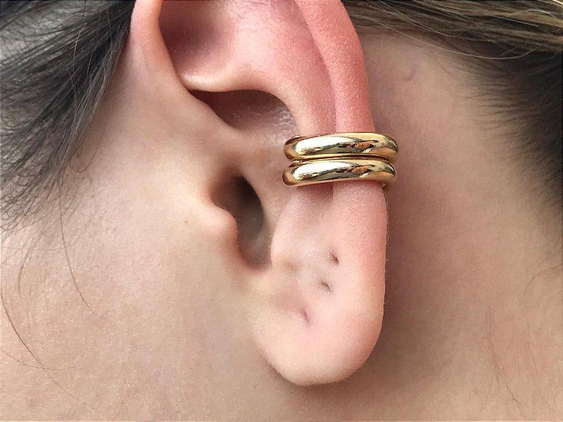 Piercing Falso Fake Médio Orelha Cartilagem Folheado em Ouro