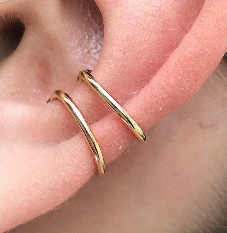 Piercing Falso Fake Pequeno Bolinha Orelha Folheado em Ouro