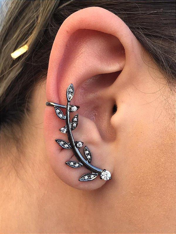 Brinco Ear cuff Com Folhas Cravejadas Banhado Em Ródio Negro