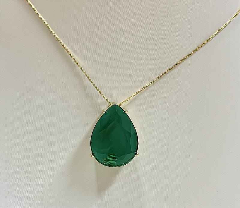 Colar Pingente Gota Pedra Verde Banhado Em Ouro 18k