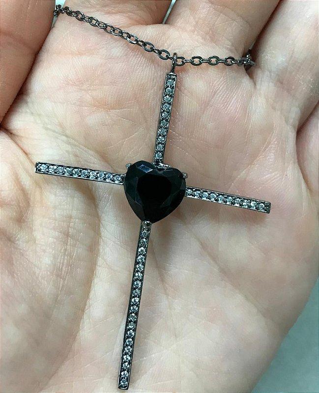 Colar Crucifixo e Coração Preto Corrente Tiffany Rodio Negro