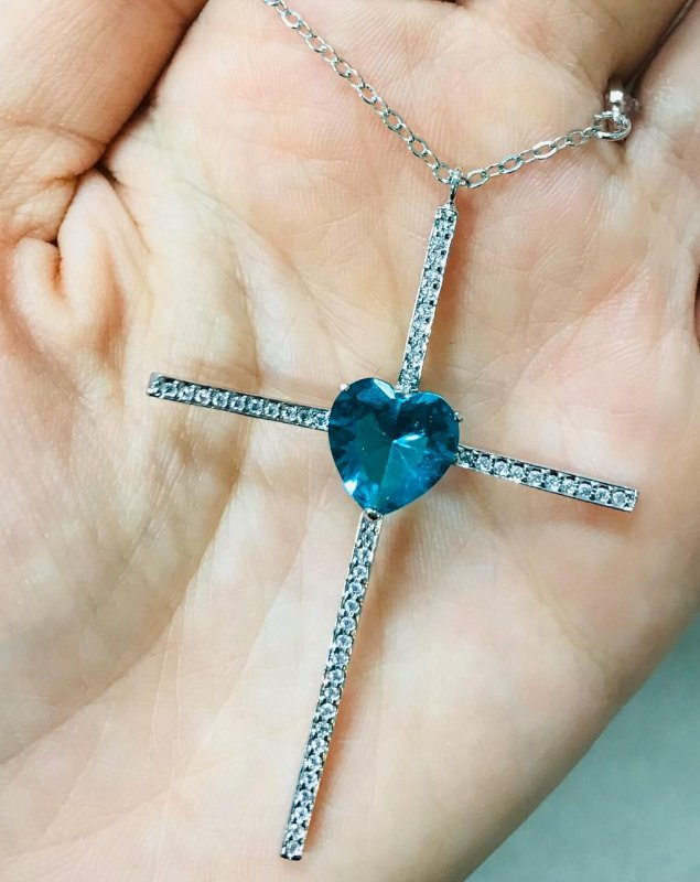 Colar Crucifixo Coração Turmalina Tiffany Rodio Branco