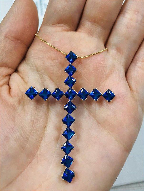 Colar Crucifixo Pedra Cravejado Azul Safira Banho Ouro
