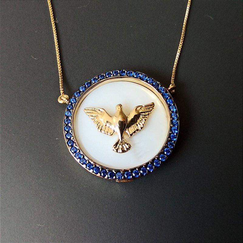 Colar Espirito Santo Madrepérola Zirconia Azul Banhado Ouro