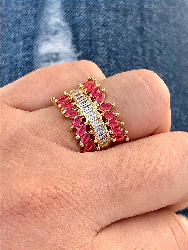 Anel De Pedras Navete Pink Carre Branca Banhado Em Ouro 18k