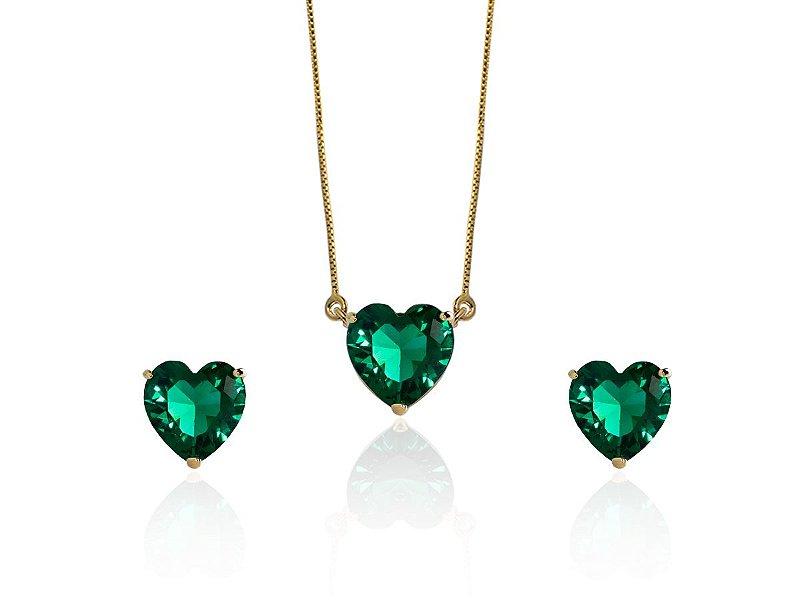 Conjunto Colar Brinco Coração Verde Esmeralda Banhado a Ouro
