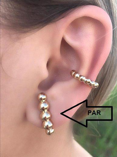 Brinco Ear Hook Bolinhas Banhado a Ouro 18K Par Lindissimo
