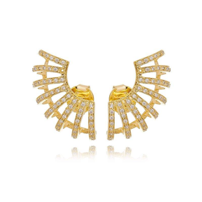 Brinco Ear cuff Cravejado Zirconias Brancas Banhado a Ouro