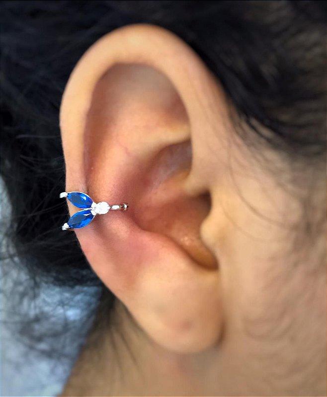 Brinco Piercing Fake Orelha Azul Safira Banhado Ródio Branco