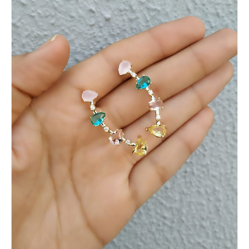 Brinco Ear Cuff Zirconias Gotas Coloridas Banhado a Ouro Par