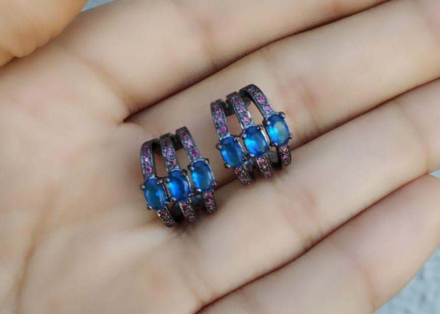 Brinco Piercing Fake Orelha Azul 3 Aros Banhado Ródio Negro