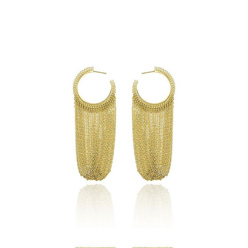 Brinco Argola com Correntes Luxo Banhado a Ouro 18k