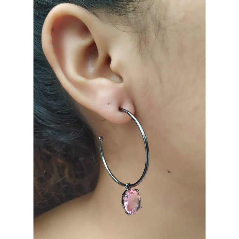 Brinco Argola Pedra Oval Cristal Rosa Ródio Negro Moderno