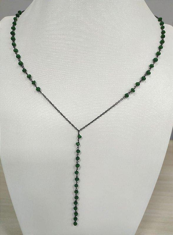 Colar Pedra Verde Esmeralda Banho Ródio Negro Clássico