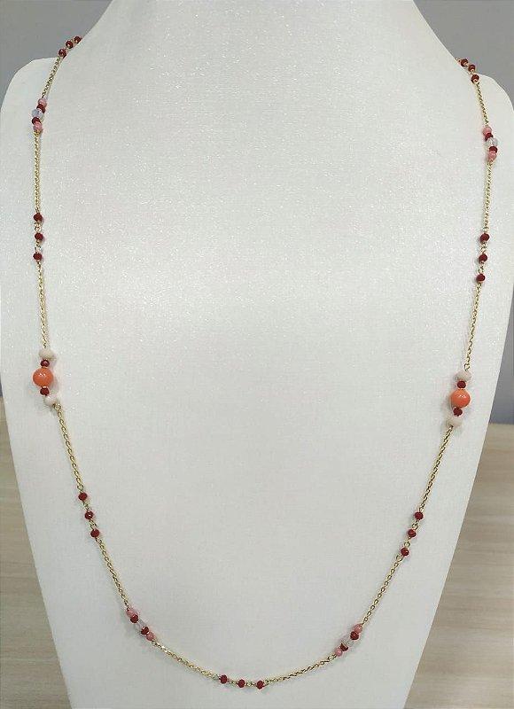 Colar Longo Vermelho e Coral Folheado a Ouro 18k Clássico