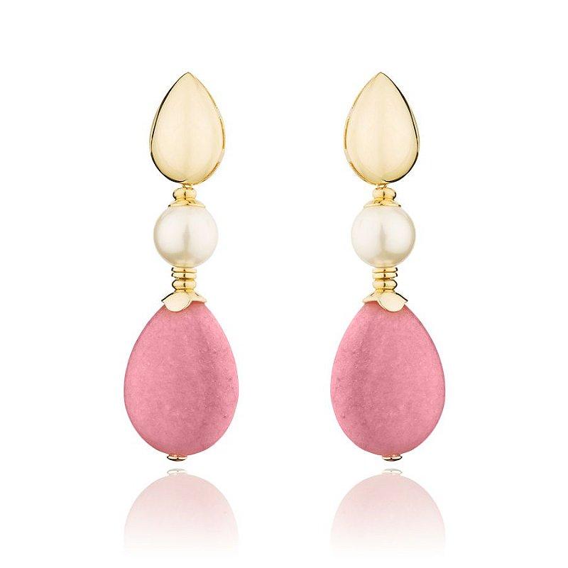 Brinco Pedra Rosa Natural Gota e Perola Banhado a Ouro 18k
