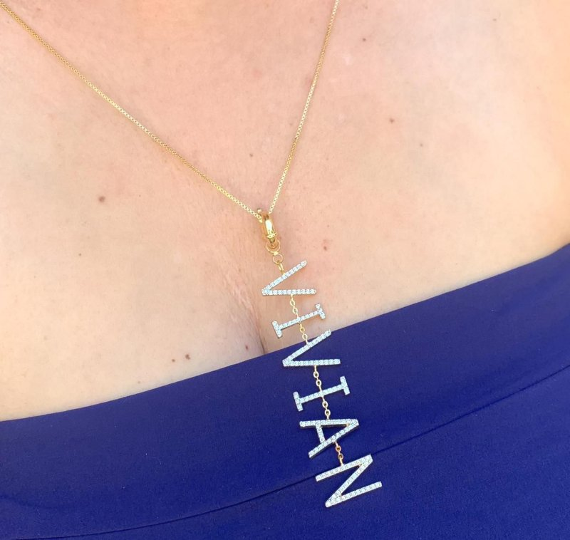 Colar Nome Personalizado 7 Letras Cravejadas Banhado a Ouro